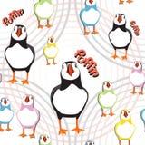 Seamless puffin birds pattern Royalty Free Stock Photos