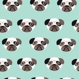 Seamless pug puppy illustration for kids dog Stock Photography