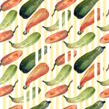 Seamless pumpkin watercolor squash pattern with natural illustrations on the paper. Amazing for textile, wallpapers, greetings card, web, backgrounds Stock Photos