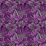 Seamless Purple fallen foliage. Purple fallen foliage on black background. Seamless tile Stock Photos