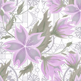 Seamless purple floral pattern on white Stock Photo