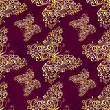 Seamless purple-gold pattern Royalty Free Stock Images