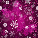 Seamless purple gradient pattern with snowflake. S and vintage pink butterflies, vector vector illustration