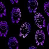 Seamless Purple Owls over Black Stock Image