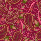 Seamless purple pattern with paisley and swirls. Vector print . Royalty Free Stock Photo