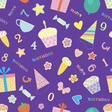 Seamless purple pattern to celebrate a birthday. Purple seamless pattern with the image of colorful subjects for birthday Stock Images
