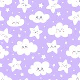 Seamless purple smiling stars and clouds pattern for baby pajamas fabric. Happy sleeping smile star sky. Vector. Seamless purple smiling stars and clouds pattern vector illustration