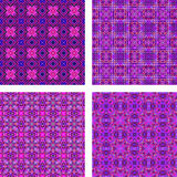 Seamless purple triangle mosaic background set Royalty Free Stock Images