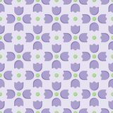 Seamless purple tulip flower vector pattern with green dots royalty free illustration
