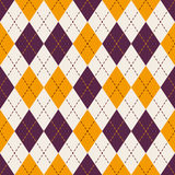 Seamless purple and yellow diamond check dot line pattern background. Royalty Free Stock Images
