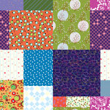 Seamless quilt pattern - floral fabrics Stock Photo