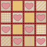 Seamless quilt texture with hearts Stock Photo