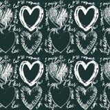 Seamless räcka utdragen hjärta mönstrar Fotografering för Bildbyråer