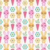 Seamless rabbit pattern. Seamless cute cartoon rabbit pattern Vector Illustration