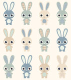 Seamless rabbits cartoon pattern Stock Images