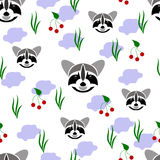 Seamless of racoon portrait on white background with grass, br. Seamless of wild animal and nature for your design Stock Photography