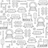 Seamless railroad background. Seamless background with hand drawn railroad objects: wagons, semaphore, railway station clock, locomotive, barrier, tunnel Stock Photos