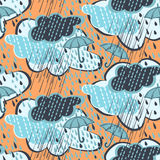 Seamless rain pattern. Seamless pattern of rain-drops and jets and umbrella royalty free illustration