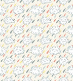 Seamless rain pattern. Seamless pattern with clouds and rain Stock Photography