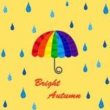 Seamless rain and rainbow umbrella pattern Stock Photos