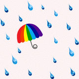 Seamless rain and rainbow umbrella pattern Stock Image