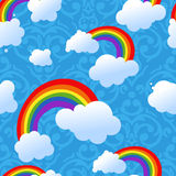Seamless rainbow and clouds background Stock Images