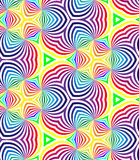Seamless Rainbow Colored Spirals Pattern on White. Geometric Abstract Background. Royalty Free Stock Image