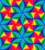 Seamless Rainbow Colored Wavy Triangles Pattern. Geometric Abstract Background. Stock Image