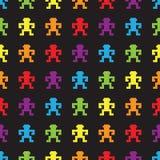 Seamless  rainbow pixel monkeys pattern. Seamless  rainbow falling pixel monkey pattern Royalty Free Stock Photo