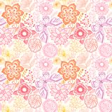 Seamless rainbow floral background. Copy that square to the side Stock Photos