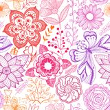 Seamless rainbow floral background. Copy that square to the side Stock Images