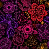 Seamless rainbow floral background. Copy that square to the side Royalty Free Stock Images