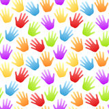 Seamless Rainbow Hands Pattern Stock Image