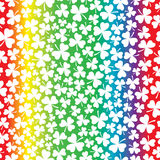 Seamless Rainbow and Shamrock Pattern Stock Photo