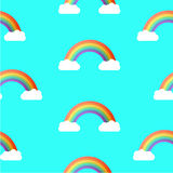 Seamless Rainbow and Sky Pattern. Vector Background. Royalty Free Stock Photography