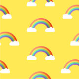 Seamless Rainbow and Sky Pattern. Vector Background. Stock Image