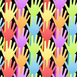 Seamless Rainbow Volunteering Hands Background. Rainbow waiving hands and arms background. May be voting, volunteering, waving or saying goodbye Royalty Free Stock Image