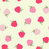 Seamless raspberries background. Stock Photos