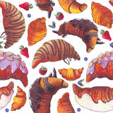 Seamless raster illustration with various croissant and berries. Croissant with strew topping and chocolate syrup, baked and fried Royalty Free Stock Photos