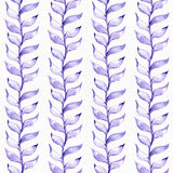 Seamless raster large illustration with blue and purple plants, based on rubber plant and liana shape, drawn in a row. Square flor Stock Images