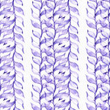 Seamless raster large illustration with blue and purple plants, based on rubber plant and liana shape, overlapping in rows. Floral Royalty Free Stock Photos