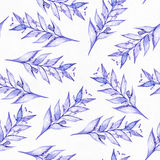 Seamless raster large illustration with blue and purple plants, based on rubber plant and liana shape, overlapping in rows. Floral Stock Image