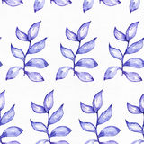 Seamless raster large illustration with blue and purple plants, based on rubber plant shape. Square floral pattern on white waterc Stock Photos