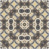 Seamless raster pattern in oriental style Flower psychedelic mosaic Pattern for wallpaper, backgrounds, decor for tapestries. Psyc. Hedelic symmetrically Royalty Free Stock Photo