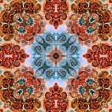 Seamless raster pattern in oriental style Flower psychedelic mosaic Pattern for wallpaper, backgrounds, decor for tapestries. Psyc. Hedelic symmetrically Royalty Free Stock Images