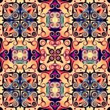Seamless raster pattern in oriental style Flower psychedelic mosaic Pattern for wallpaper, backgrounds, decor for tapestries. Psyc. Hedelic symmetrically royalty free illustration