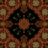 Seamless raster pattern in oriental style Flower psychedelic mosaic Pattern for wallpaper, backgrounds, decor for tapestries. Psyc. Hedelic symmetrically Royalty Free Stock Photography