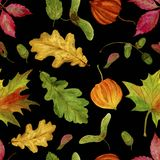 Seamless raster pattern with watercolor autumn leaves on a black background Royalty Free Stock Images