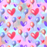 Seamless raster pattern. Watercolor background with hand drawn air ballons and hearts. Royalty Free Stock Photos