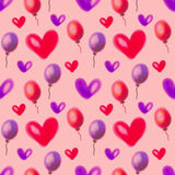 Seamless raster pattern. Watercolor background with hand drawn air ballons and hearts. Stock Photos